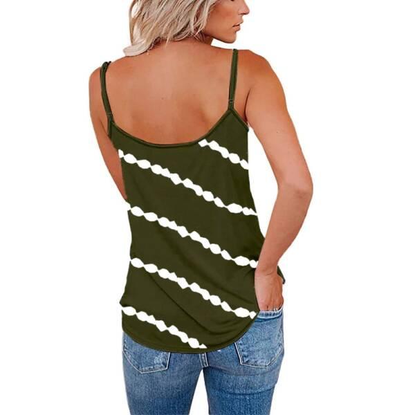 Women Diagonal Striped Print Tank Tops Summer Sleeveless Tie Dye Sexy V Neck Loose Tank Casual 2