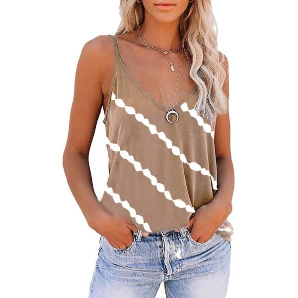 Women Diagonal Striped Print Tank Tops Summer Sleeveless Tie Dye Sexy V Neck Loose Tank Casual 3