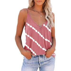 Women Diagonal Striped Print Tank Tops Summer Sleeveless Tie Dye Sexy V Neck Loose Tank Casual