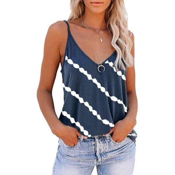 Women Diagonal Striped Print Tank Tops Summer Sleeveless Tie Dye Sexy V Neck Loose Tank Casual 4